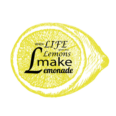 Quote If life gives you lemons make lemonade with hand drawn lemon. Sketch style lemon with lettering. Can use for T-shirt, bag design, poster, greeting card illustration. Vector Illustration