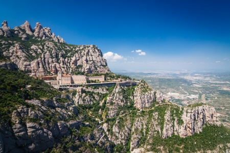 A mountain view with monastery on the top in Montserrat, Spain Stock Photo