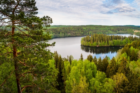 Lake view from the lookout tower of Aulanko in Finland