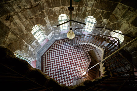 High angle interior view in Aulanko lookout tower  in Finland.