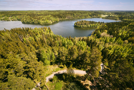 Finnish national landscape view at Aulanko nature park in Finland.