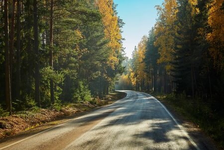 Bright fall colors and beautiful picturesque autumn country road in Finland. Banco de Imagens
