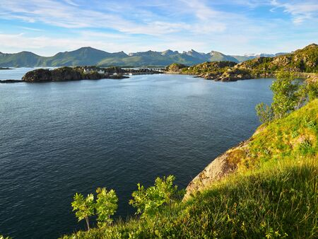 Fjord seascape view at the famous tourist attraction Hamn Village, Senja island, Troms county - Norway