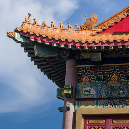 Details of a roof from chinese building in Bangkok , Thailand. Stock Photo