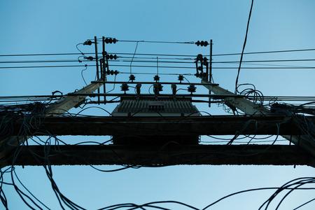 power transformer: Power transformer on a concrete pole