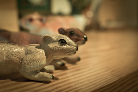 Two squirrel dolls on a table with bokeh background. Imagens