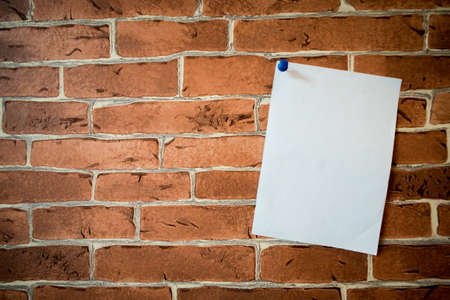 Blank paper notes on brick wall. Note, Background