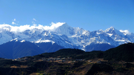 Meili snow capped mountain