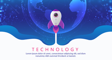 Concept of digital technology. Rocket flying to space. Theme background with light effect vector illustration Çizim