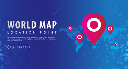 Map, world map and red pinpoint on location point, isolated on blue background