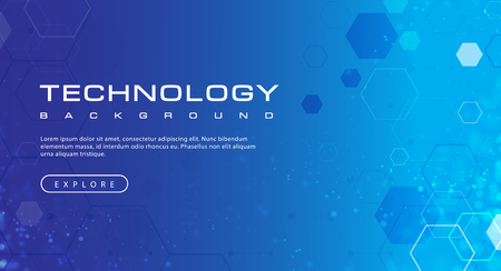 Technology banner blue sky background concept with light effects, illustration vector