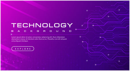 Technology banner purple background concept with light effects, illustration vector