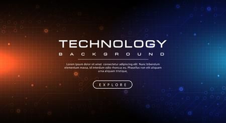 Technology banner blue and orange background concept with light effects, illustration vector Ilustração