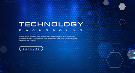 Technology background concept with abstract binary code text light effects, illustration vector Ilustração