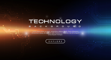 Technology banner dark blue background concept with light effects, illustration vector