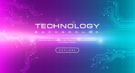 Technology banner pink green background concept with light effects, illustration vector Ilustração
