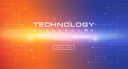 Technology banner orange blue background concept with light effects, illustration vector