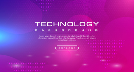 Technology banner pink purple background concept with light effects, illustration vector