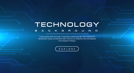 Technology banner blue background concept with light effects, illustration vector
