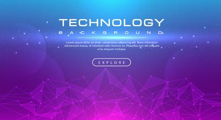 Technology banner line effects tech, pink blue background concept with light effects, illustration vector Ilustração