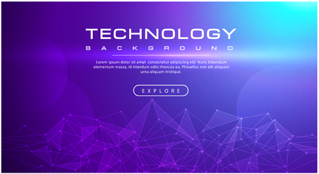 Technology banner line effects tech, purple background concept with light effects, illustration vector