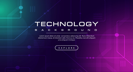 Technology banner line effects tech, pink green background concept with light effects, illustration vector