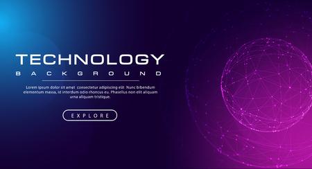 Technology banner line link world sphere, pink blue background concept with light effects, illustration vector Ilustração
