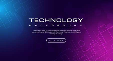 Technology banner line effects tech, purple blue background concept with light effects, illustration vector