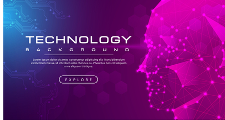 Technology banner line link human, pink blue background concept with light effects, illustration vector