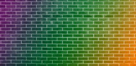 Brick wall, Orange green purple bricks wall texture background for graphic design
