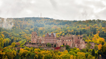Heidelberg Castle, the romantic and beautiful scene in autumn of the Heidelberg Castle
