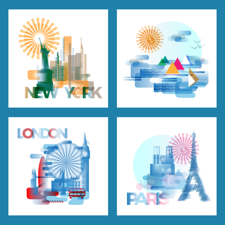Travel, holiday, London Paris Egypt mointains flat vector icon. Tourism, vacation concept template for commercial or promotional advert. Flat clean illustration of old town silhouette, Big Ben, London Eye. eiffel tower; Statue of Liberty.