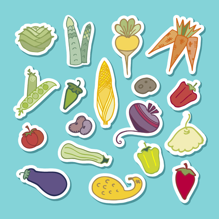 Set of flat design icons for vegetables asparagus, eggplant, tomato, pepper, zucchine, jalapeno, turnip, healthy food.