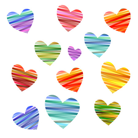 set of conceptual hearts designs in various bright and bold colors combinations.