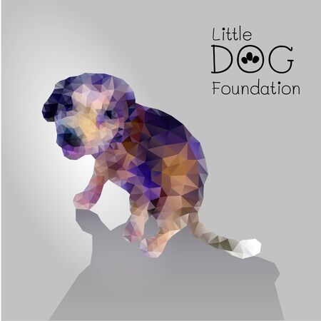 little dog: Polygon vector little dog for pet or animal foundation
