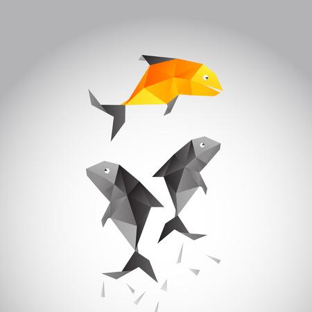 벡터 다각형 디자인으로 바다 위 점프 물고기