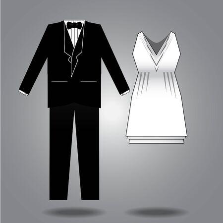Vector illustratie, ontwerp kleding voor beide seksen. Stock Illustratie