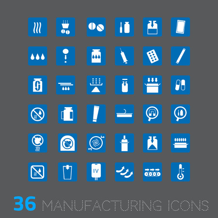 temp: Vector icon for industrial such as pharmaceutical packing filling medicine etc Illustration