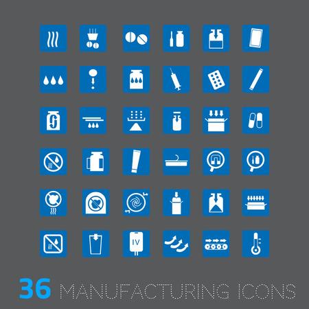 medicamento: Vector icono para aplicaciones industriales tales como relleno de embalaje farmacéutica medicina, etc.