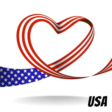 심장 모양의 형태와 벡터 미국 국가 리본 디자인 일러스트