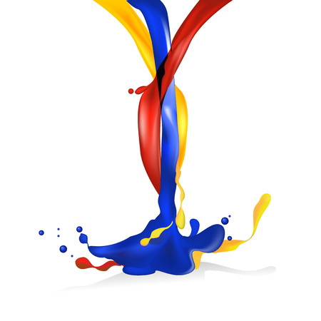 splashing: Vector illustration object aggregation of red, yellow and blue color liquid splashing