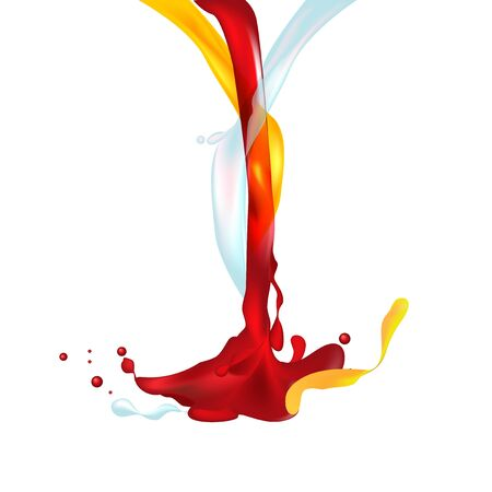 splashing: Vector illustration object aggregation of red, yellow and pure color liquid splashing Illustration