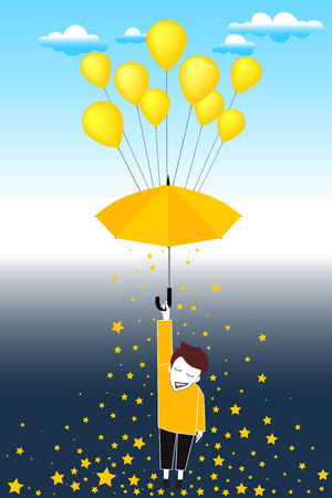 day bed: Cartoon day and night with concept is float up to the sky by balloon from bed when we wake up but still sleepy. create by vector illustration file Illustration
