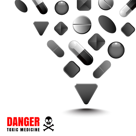 передозировка: Drug black color represents a dangerous and toxic. It is a vector file for various use. Иллюстрация
