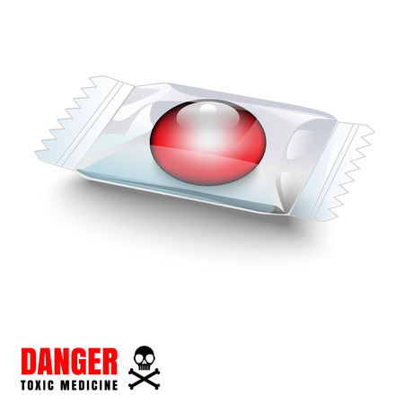 передозировка: Drug red color represents a dangerous and toxic. It is a vector file for various use.