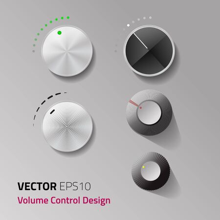 volume control: Vector file. Volume control set metal circle with difference level interface design