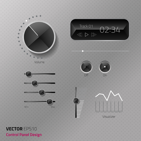 Vector file control panel set. the luxury diamond concept. black and gray tone must represent for modern luxury interface