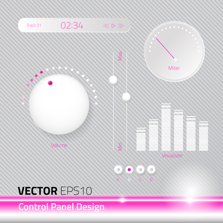 control panel: Vector file control panel set. white pink cute concept. the design represent for modern cute interface