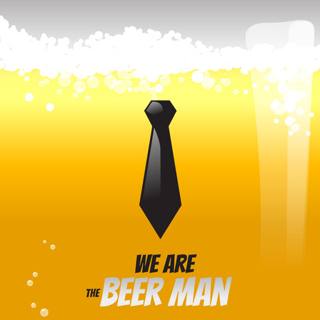 beer and necktie: Beer liquid and human object. create by vector illustration file. The concept is most of gentleman like to drink beer