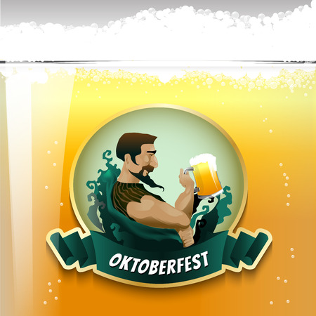 legend: Vector illustration file. A man and beer glass with legend tracery design